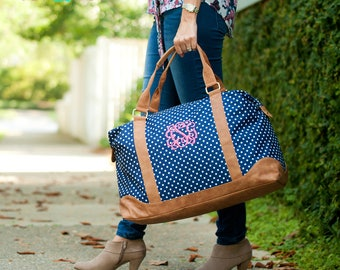 Monogrammed Weekender Bag, Monogrammed Travel Bag, Personalized Luggage, Navy Blue Polka Dot Luggage, Overnight Tote Bag, Vegan Leather