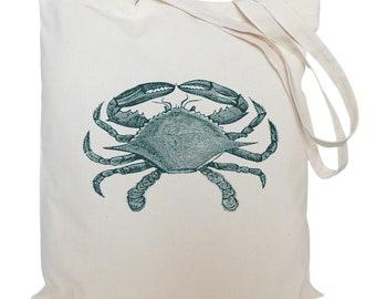 Tote bag/ drawstring bag/ cotton bag/ crab/ material shopping bag/ nautical/ sea/ shoe bag/ market bag