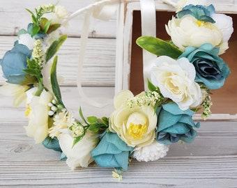 Turquoise ivory  Bridal Flower crown wreath Boho Woodland Rustic wedding headpiece Halo  headband Flower girl Bridesmaids