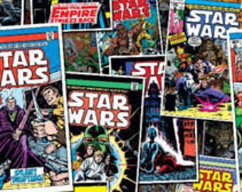 """Star Wars Comic covers fabric, By the Half Yard, 44"""" wide, 100% cotton, star wars fabric, empire strikes back, movie fabric, cotton fabric"""