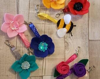 Handmade felt flower, bee and ladybird keyrings/bagcharm