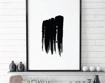 Abstract Painting, Minimal Painting,Brush, Art & Collectibles,Digital Prints, Black and White, Home Decor, Abstract Art, Trending, New Items