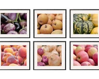Kitchen prints, kitchen decor, kitchen art set of 6 prints 8x10 kitchen pictures, market fruit vegetables prints, restaurant dine room decor