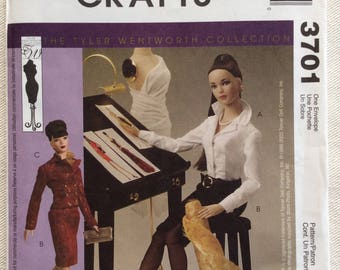"""McCall's Crafts Pattern 3701 - Tyler Wentworth Collection 16"""" Doll Clothes - Long Sleeve Bodysuit, Skirt, Princess Seam Jacket, Purse & Belt"""