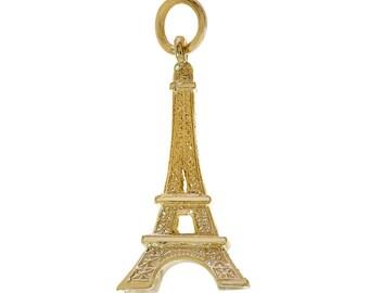 14K Yellow Gold Eiffel Tower Paris 3D Vintage Charm