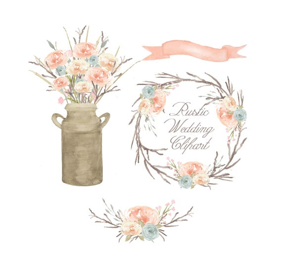 Watercolor Floral Clipart Bouquet Flower Arrangement Wedding Wreath Rustic From GiddyPopGraphics On Etsy Studio