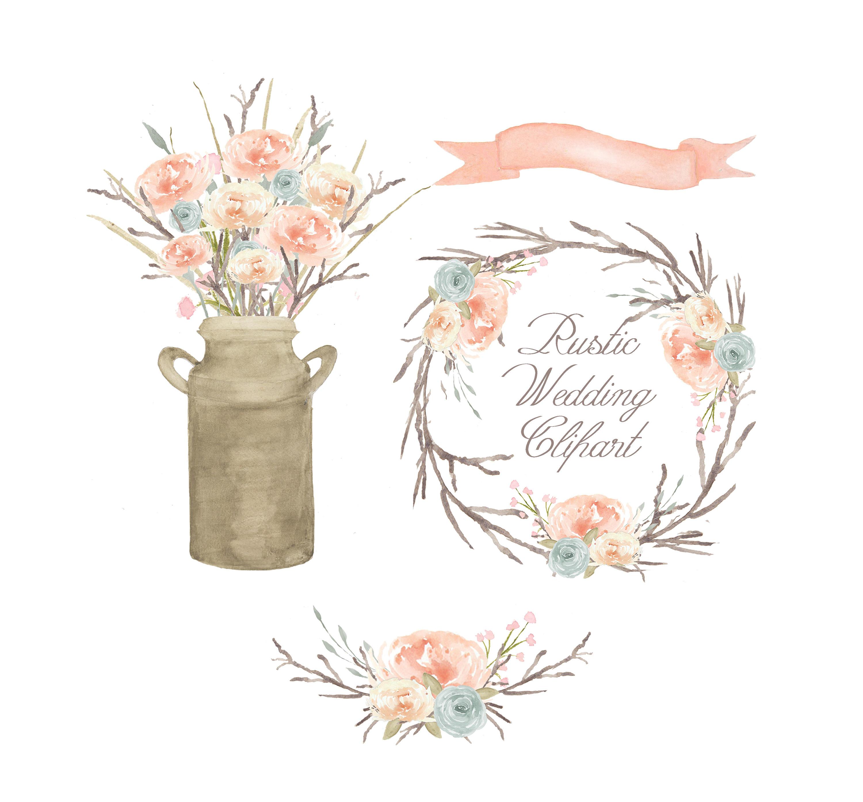 Watercolor floral clipart bouquet flower