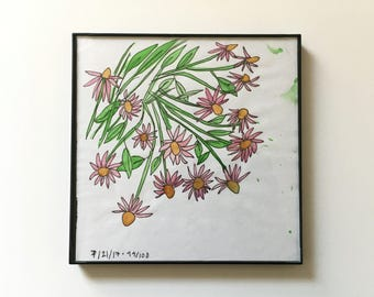 94/100: Wildflowers - original framed watercolor illustration