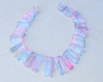 Light Blue and Pink Titanium Quartz Points, Quartz Crystal, Crystal Points, Raw Quartz - Graduated - Full Strand - 27mm - 46mm - 1141