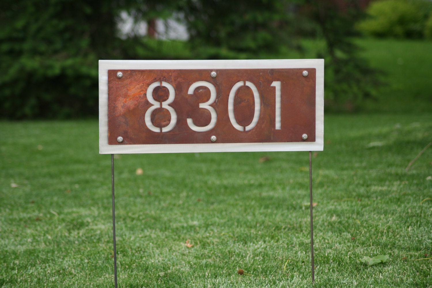 Two-Sided Rustic Address Number Yard Sign House number can