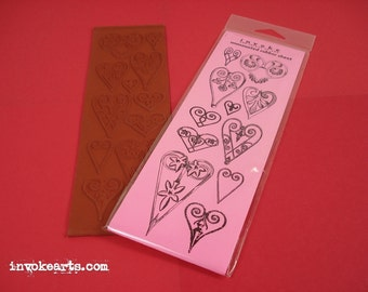 Sale / Victorian Hearts / Invoke Arts Collage Rubber Stamps / Unmounted Stamp Set