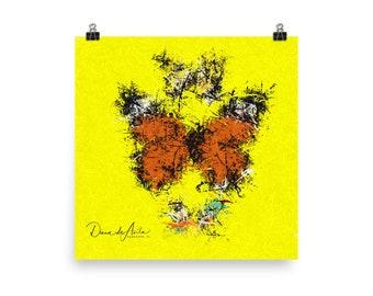3 Butterflies Splatter Abstract on Photo paper poster