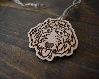 Goldendoodle Ornament or Labradoodle Ornament (cherry, walnut, maple)
