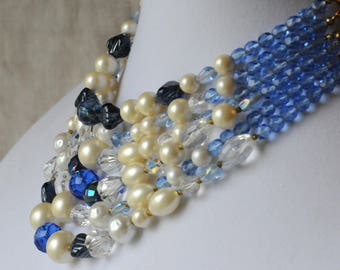 Vintage Pearl and Faceted Glass Necklace,  Blue And White, Gold Tone, 6 Strand, Faux Pearl, KC104