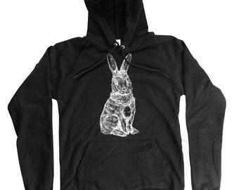 Rabbit Hoodie - Organic Cotton Bunny Hoodie - Long Sleeve rabbit Print - Small, Medium, Large, XL, 2XL
