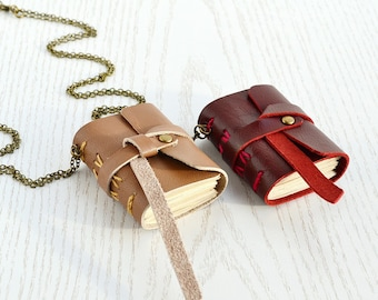 Small leather notebook Small journal Mini book necklace Tiny book antique paper