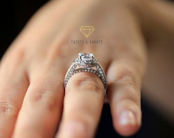 Halo Engagement Ring, Round Cut, 2.50 Carats, 14k White Gold
