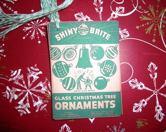 Christmas Tags - Shiny Brite Christmas Ornaments -  Set of Six