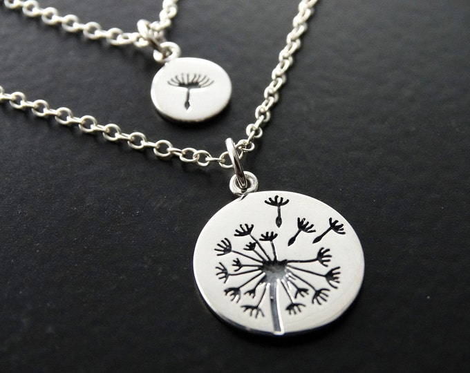 Featured listing image: Mother Daughter Necklace Set Dandelion Necklace Flower charm necklace Mother Daughter Necklace Set Mother Daughter Gift mother necklace