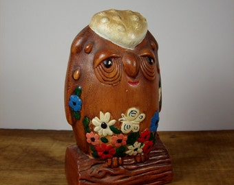 Vintage Owl Bank Ceramic Hand Painted 1970s