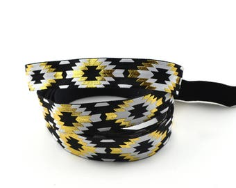 Black ethnic 15 mm flat elastic