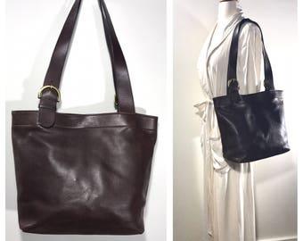 Brown Leather Coach Bag Large Vintage Coach Handbag 1980s Coach Shoulder Bag Carryall Book Bag Coach Computer Bag Tote