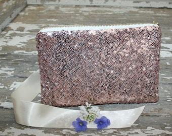 Blush Bridal Clutch, Blush Bridesmaid Gift, Pink Bridesmaid Clutch, Sequin Handbag, Blush Wedding Clutch, Prom Purse