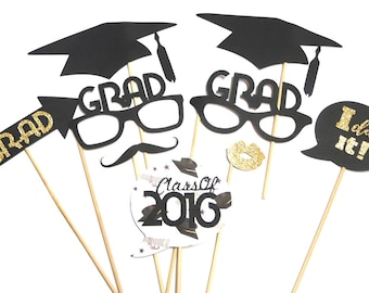 Photo Booth Props - Set of 9 Class Of 2016 Graduation Photo Booth Props
