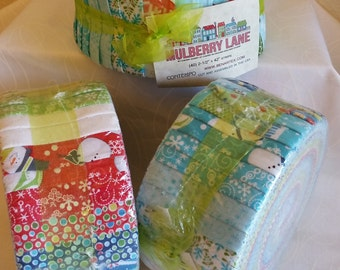 "Mulberry Lane - Pinwheel (Jelly Roll) - Contempo (Benartex) - by Cherry Guidry (40) 2.5"" strips - Christmas, snowmen, snowflakes"