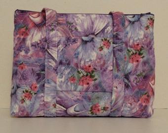 Lavender Blue Pink Purple Floral White Dresses Print Quilted Purse Quilted Handbag