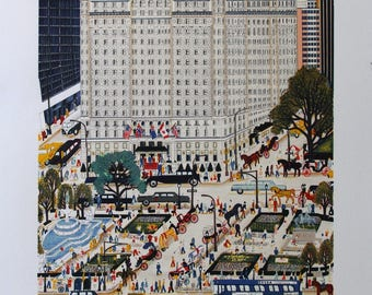 """Signed Limited Edition lithograph by Kathy Jakobsen, 1989, """"The Plaza"""", new york city, new york art, collectible artwork, plaza hotel, art"""