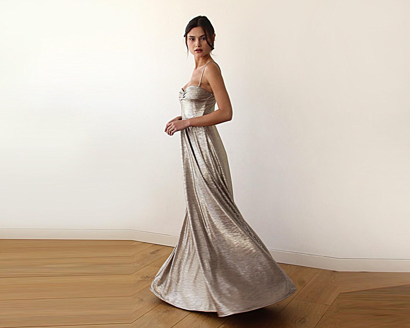 Metallische dunkel Gold Maxi Ballerina Kleid herzförmiger