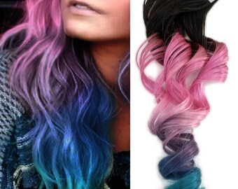 Jet Black #1 Dark Root Rainbow Balayage Tape in Ombre Human Hair Extensions Pink Lavender Purple Blue