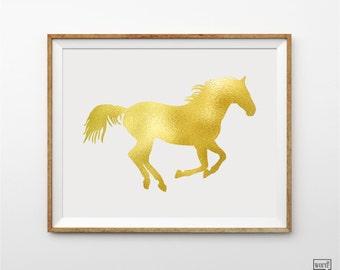 Equestrian Art Print, Gold Horse Art, Nursery Room Decor, Horse Art, Golden Palamino, Gold Art Print, Nursery Animal, Girls Wall Decor