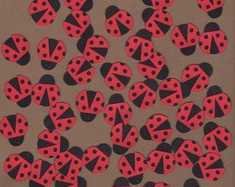 50 - 1 inch Ladybug Die Cut Embellishments Paper Crafts Set 7079