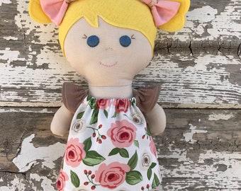 Handmade yellow blonde hair blue eyed baby doll