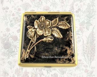 Roses Compact Mirror Inlaid in Hand Painted Enamel with Gold Swirl Design with Color and  Personalized Options