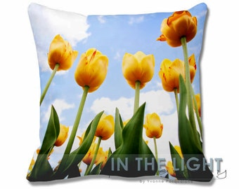 Reaching for Heaven - Yellow Spring Tulips - Fine Art Photography Pillow for home decor