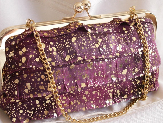 Handmade shoulder bag, clutch handbag. Magenta, gray, gold, ruffles. LOVE by Lella Rae on Etsy