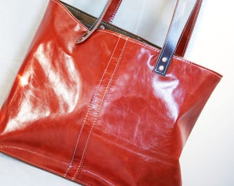 leather tote bag - only one available - (one-of-a-kind) - made in USA - 010081