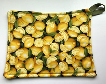 Pot holder - Reversible Lemons & Pea Pods