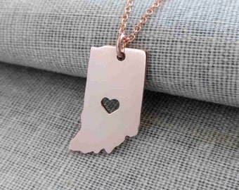 Indiana Charm Necklace Rose Gold,IN State Necklace with A Heart,Indiana State Love Necklace ,Custom IN State Charm,Cut Out State Necklace