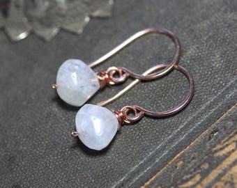Moonstone Earrings White Gemstone Earrings Rose Gold Earrings Luxe Rustic Jewelry