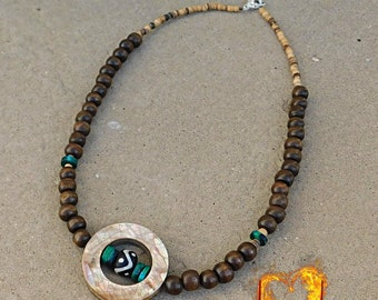 Peace Within Necklace - Chrysocolla, Shell, Wood Beads
