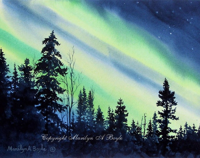 HAND MADE CARDS; Northern Lights, invitation size, approximately 4 x 5 with envelopes, Canadian skies, blank cards, set of four cards