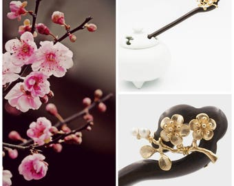 Plum Blossom Wood Hair Stick, Gold and Pearl Hair Stick, Traditional Chinese Hair Jewelry