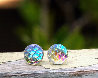 Iridescent Mermaid Scale Earrings on Titanium or Stainless Steel Posts. Clear Rainbow Fish Scale Studs