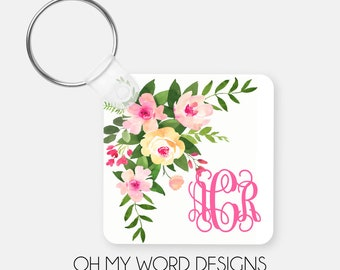 Monogram Keychain-Monogram Keychain-Personalized Keychain-Bag Tags-Luggage Tags-Watercolor Flowers-Gifts for Her