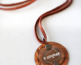 Conquer Necklace Meaningful Encouragement Gift Copper Metal Stamped  Inspirational  Gift Under 30