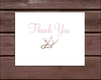 100 Pink Cherry Blossom Wedding Thank You Notes